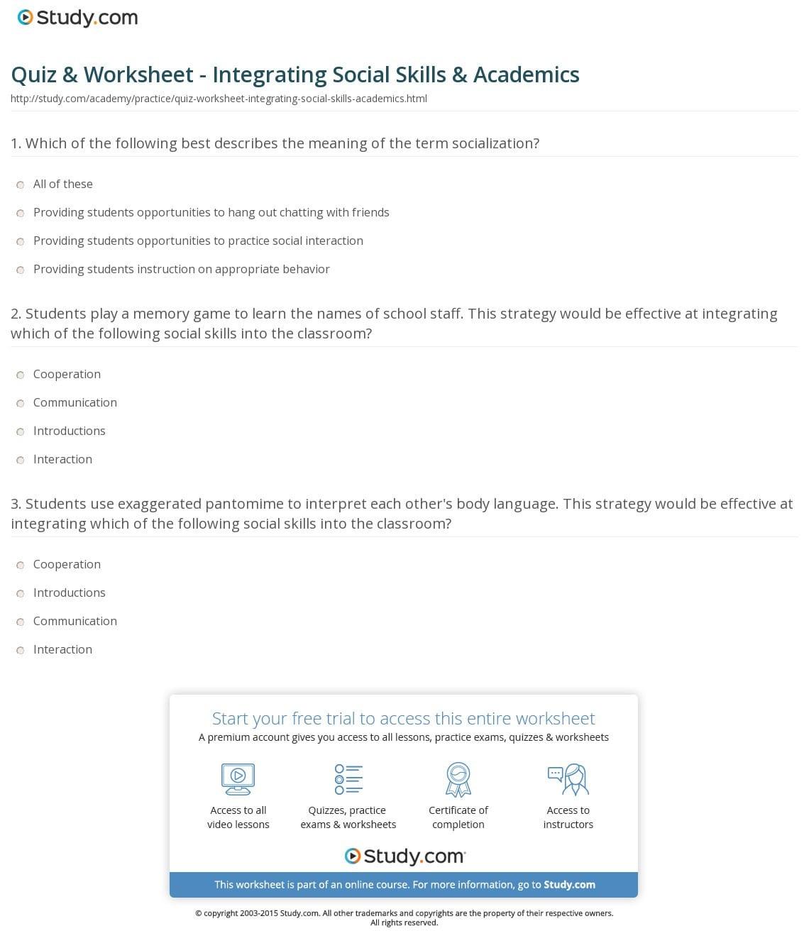 Quiz Worksheet Integrating Social Skills Academics