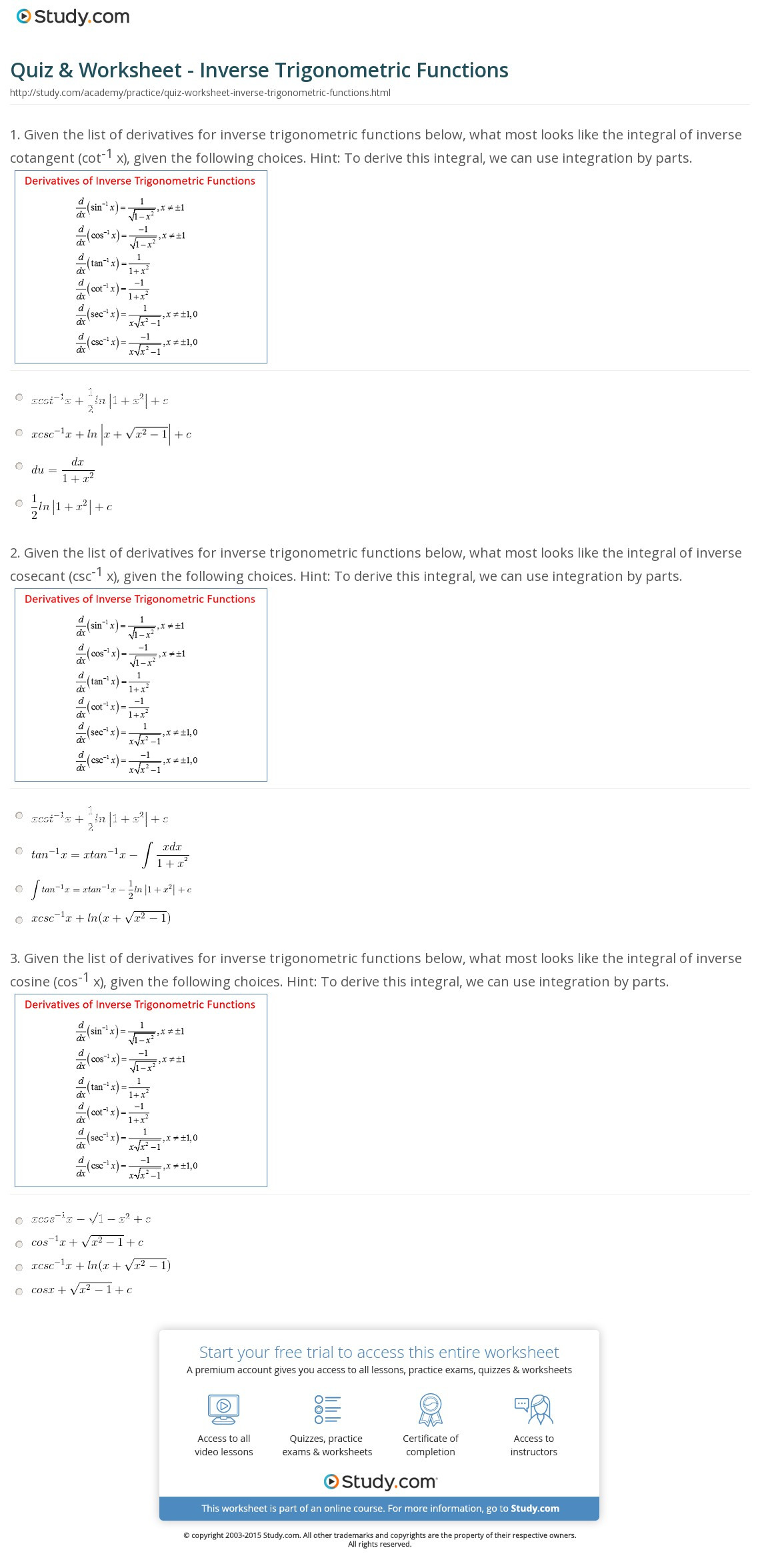 Quiz Worksheet Inverse Trigonometric Functions Study