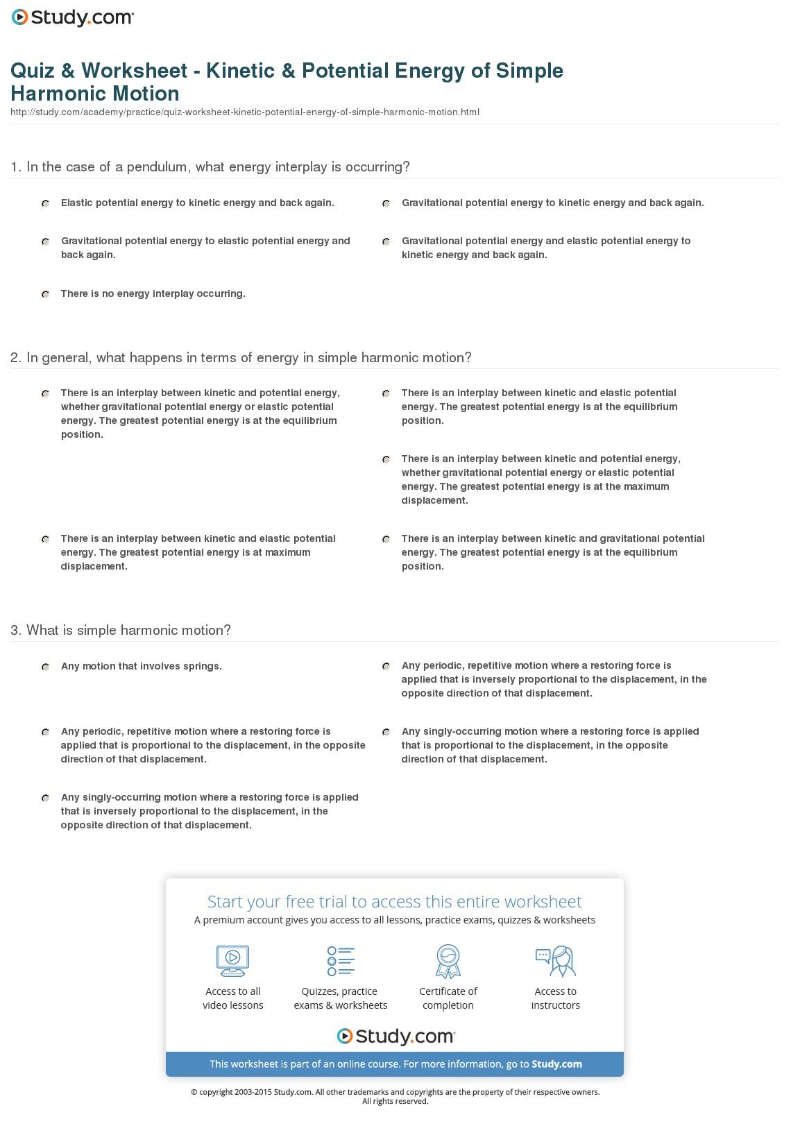 Quiz Worksheet Kinetic Potential Energy Of Simple Harmonic