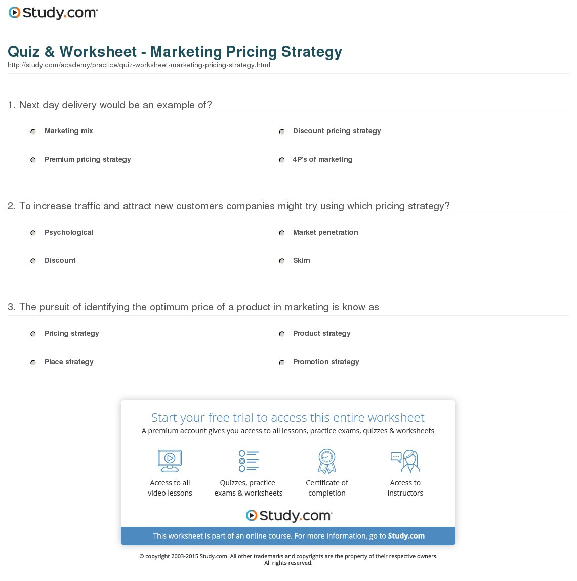 Chapter 11 The Price Strategy Worksheet Answers