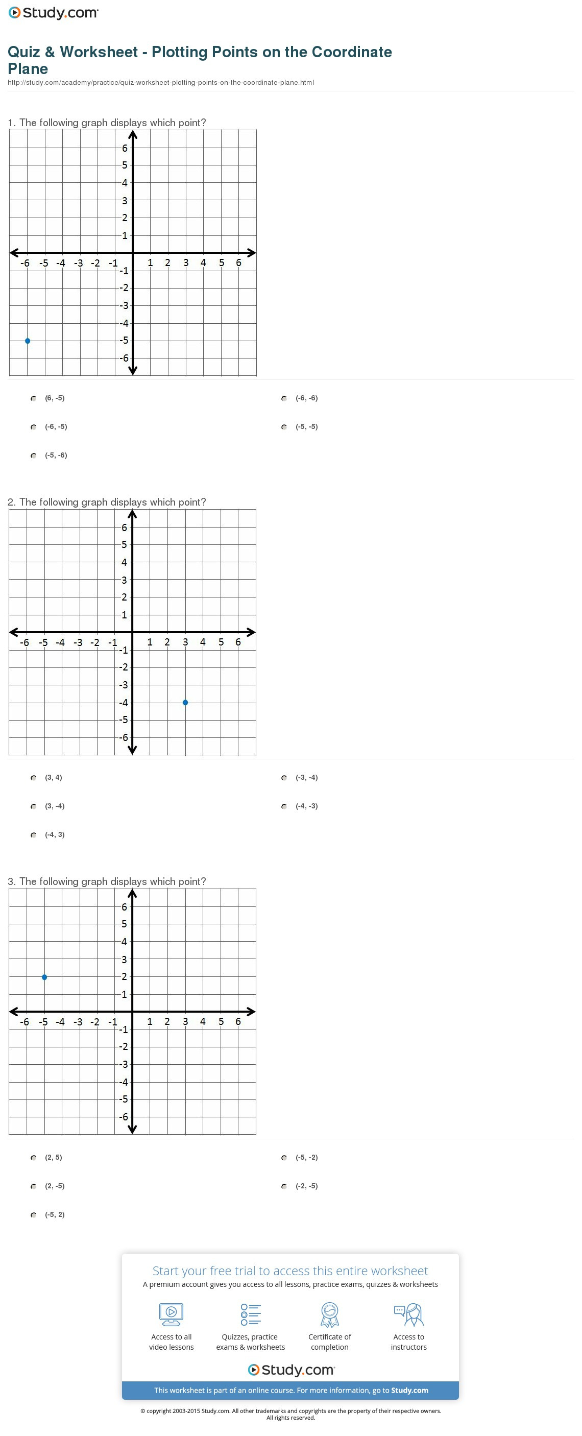 Plotting Points On A Graph Worksheet
