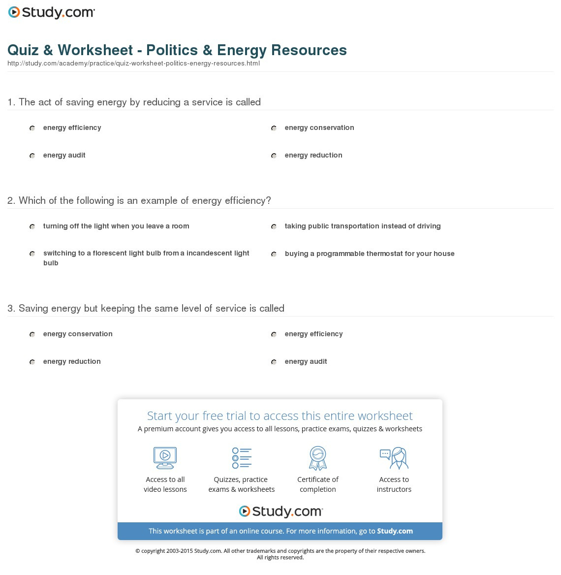 Quiz Worksheet Politics Energy Resources Study