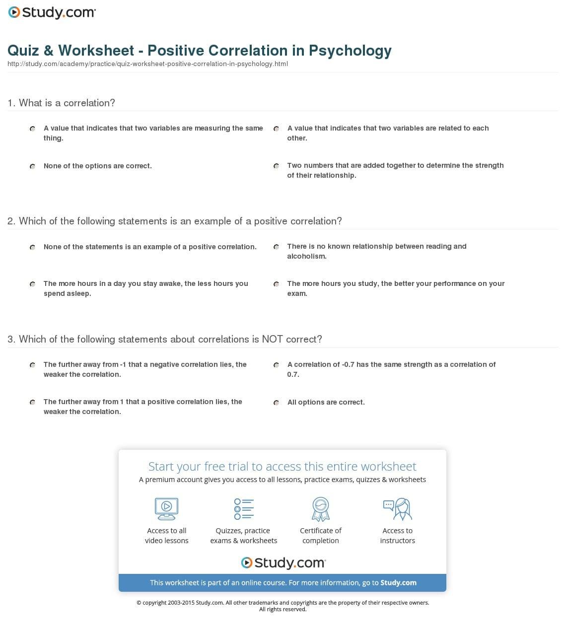 Quiz Worksheet Positive Correlation In Psychology