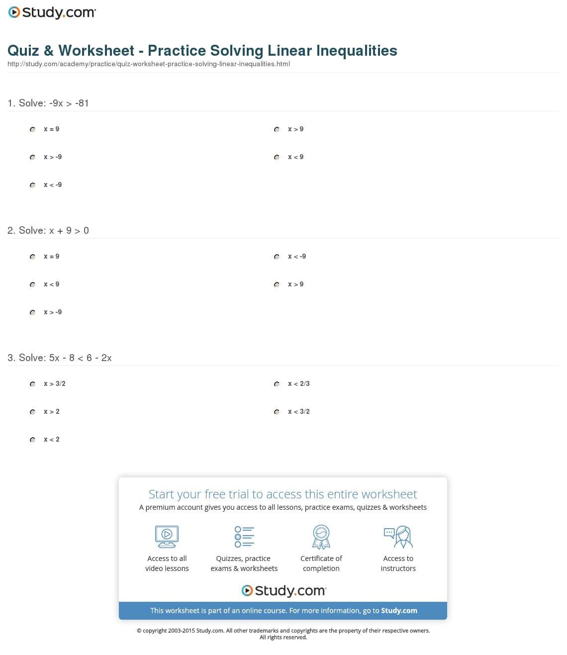 Quiz Worksheet Practice Solving Linear Inequalities