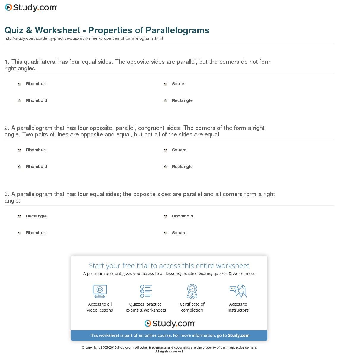Quiz Worksheet Properties Of Parallelograms Study