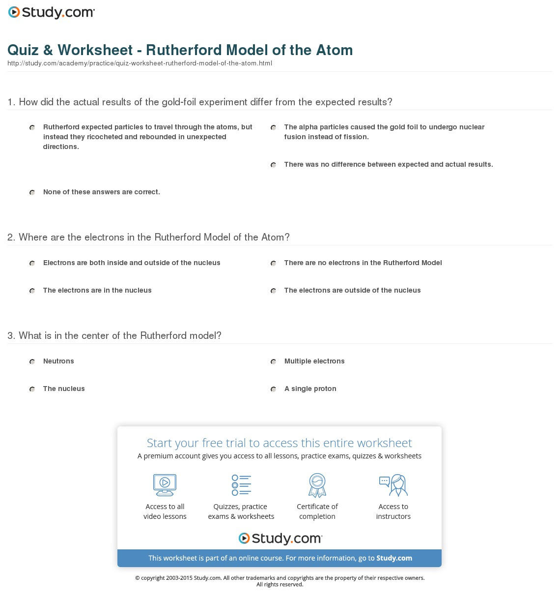 Models Of The Atom Worksheet
