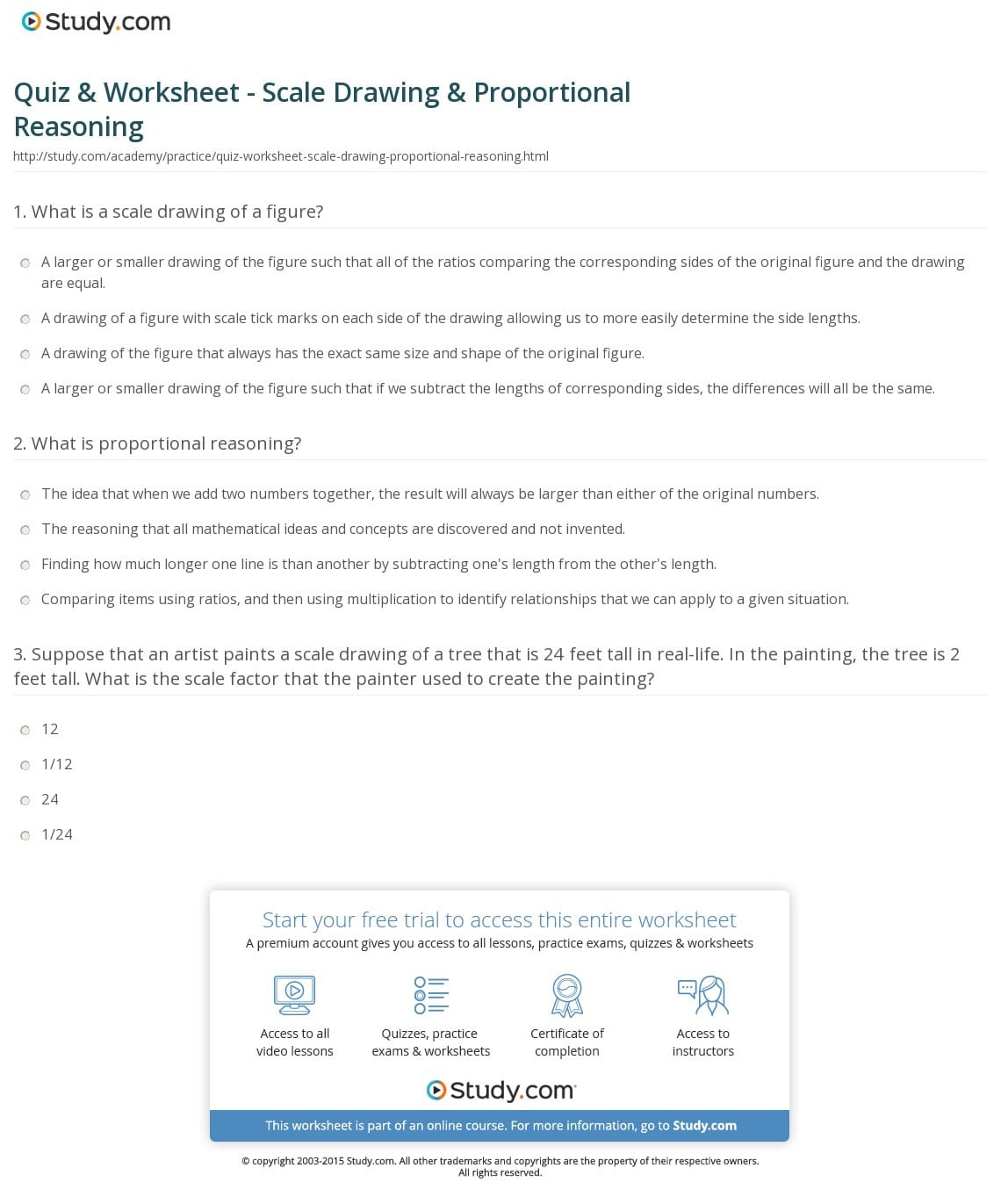 Quiz Worksheet Scale Drawing Proportional Reasoning