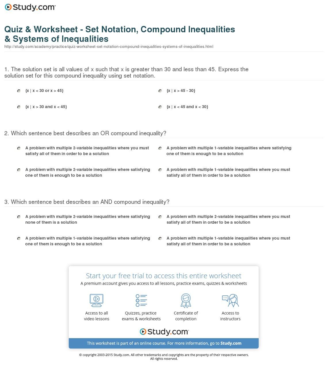 Quiz Worksheet Set Notation Compound Inequalities