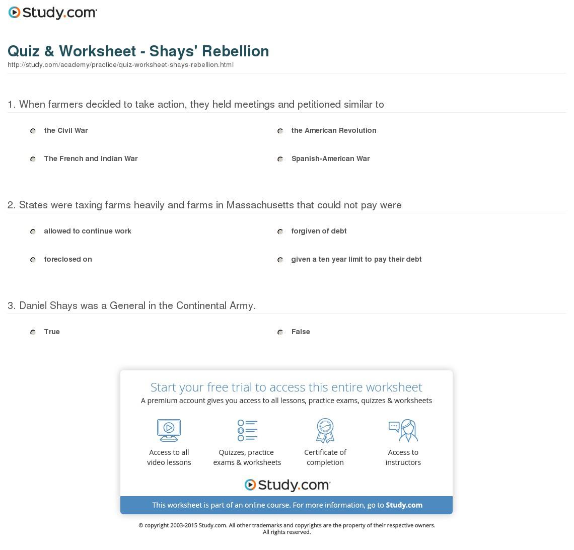Shays Rebellion Worksheet Answers