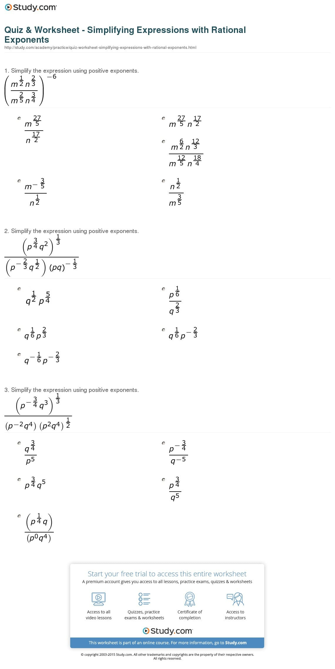 Exponents And Radicals Worksheet With Answers