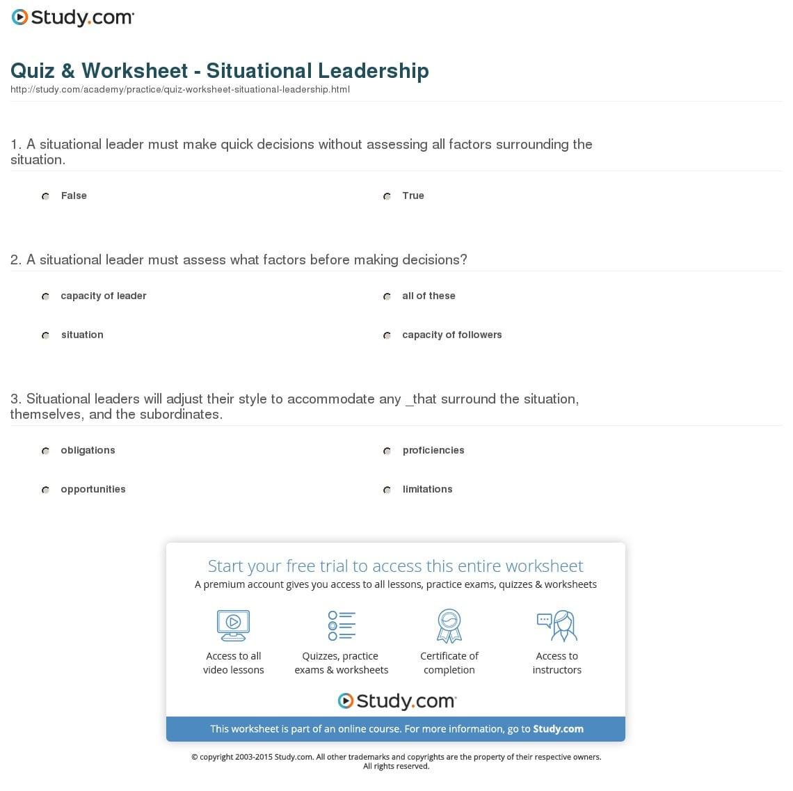 Situational Leadership Worksheet Db Excel