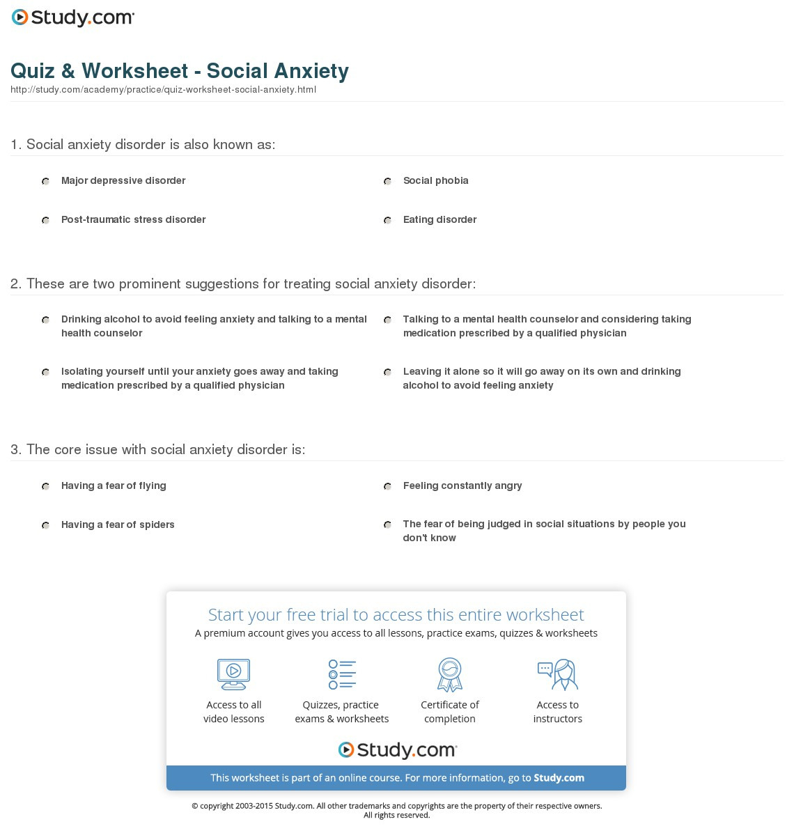 Quiz Worksheet Social Anxiety Study