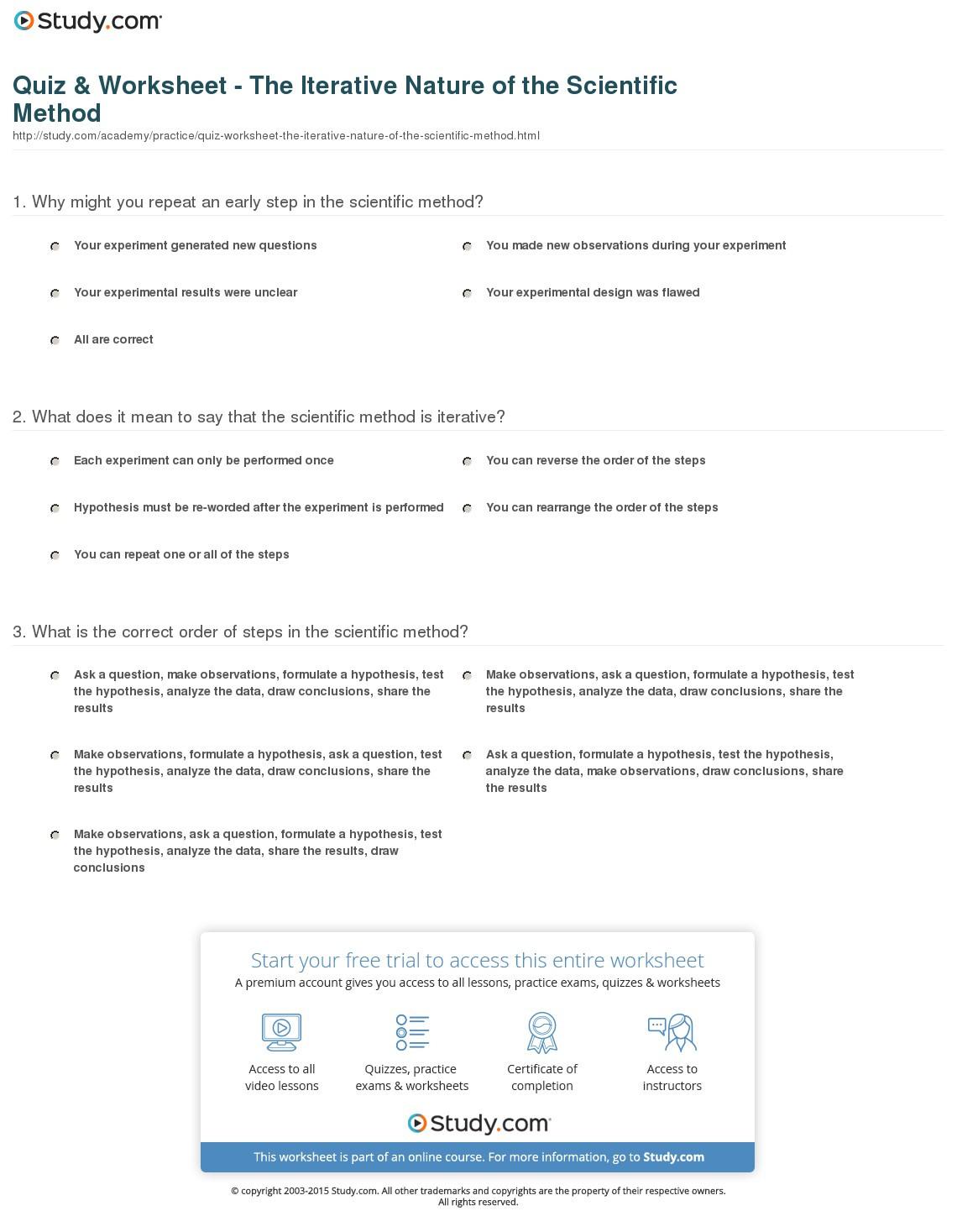 Quiz Worksheet The Iterative Nature Of The Scientific