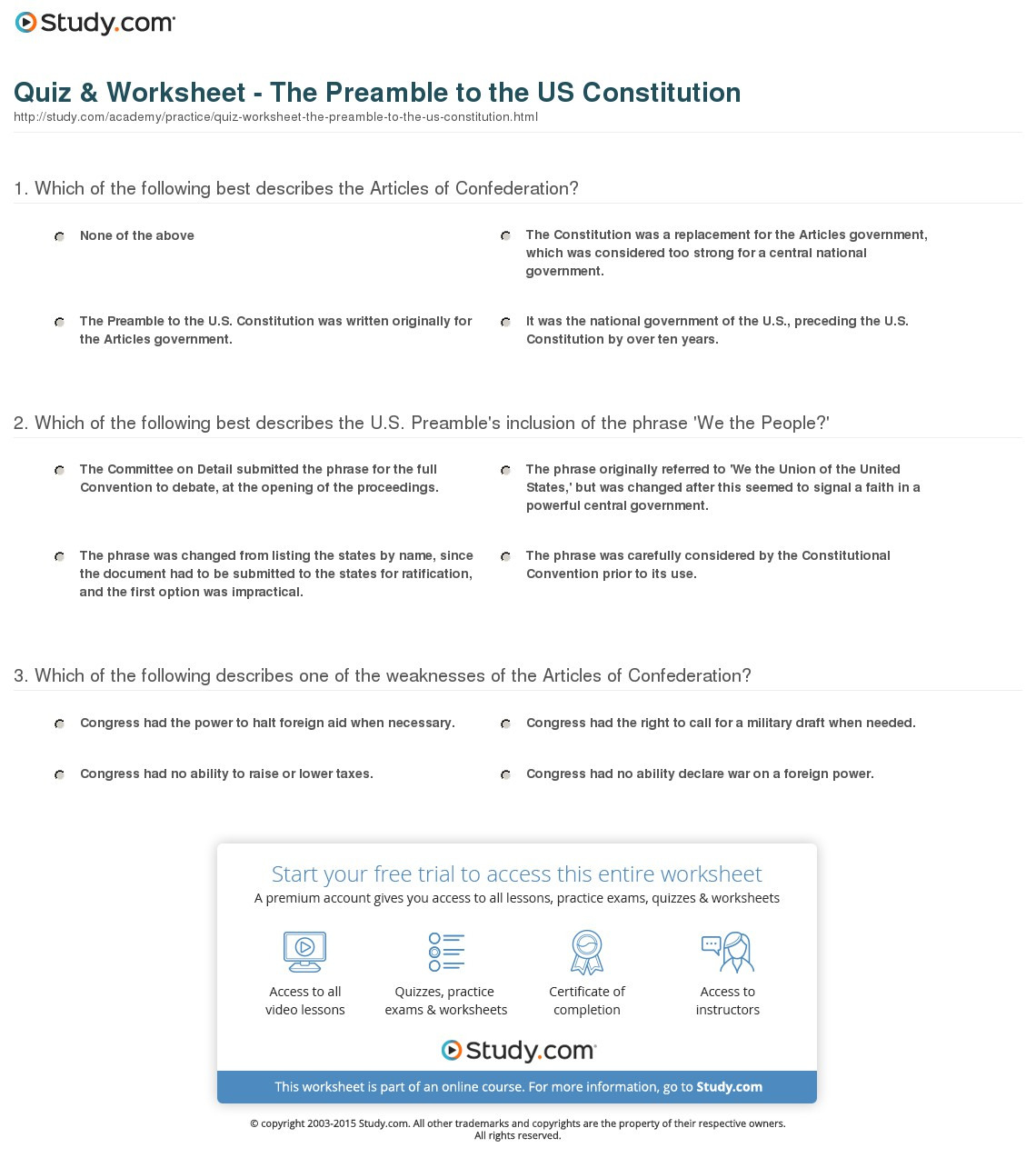 Quiz Worksheet The Preamble To The Us Constitution