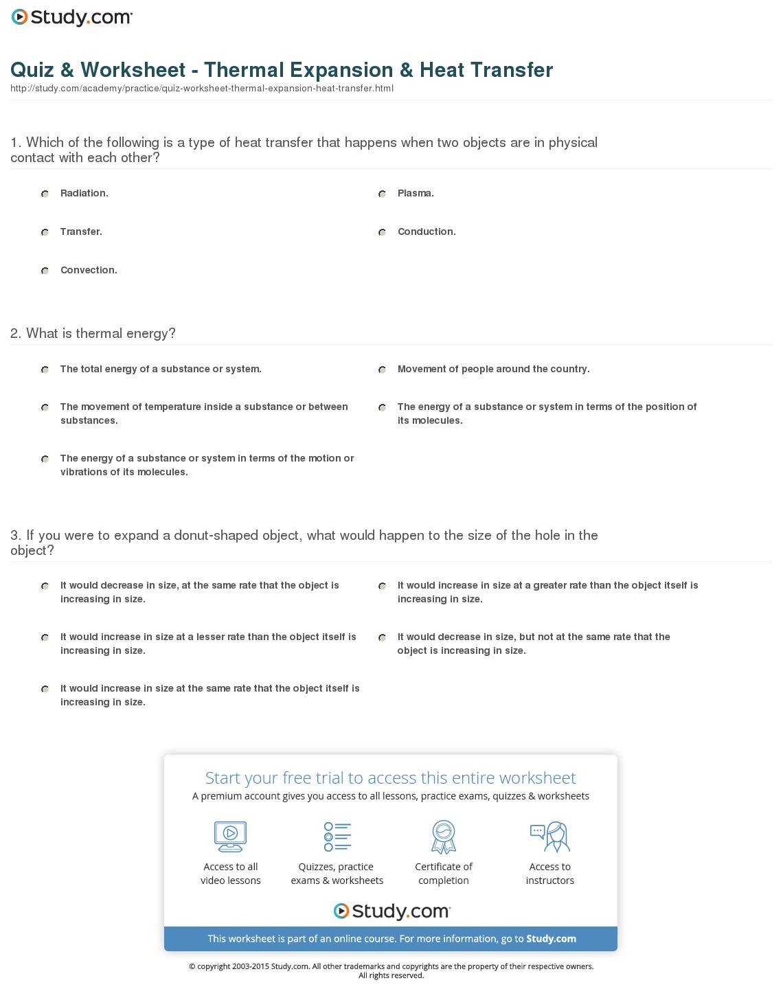 Thermal Energy Worksheet Middle School