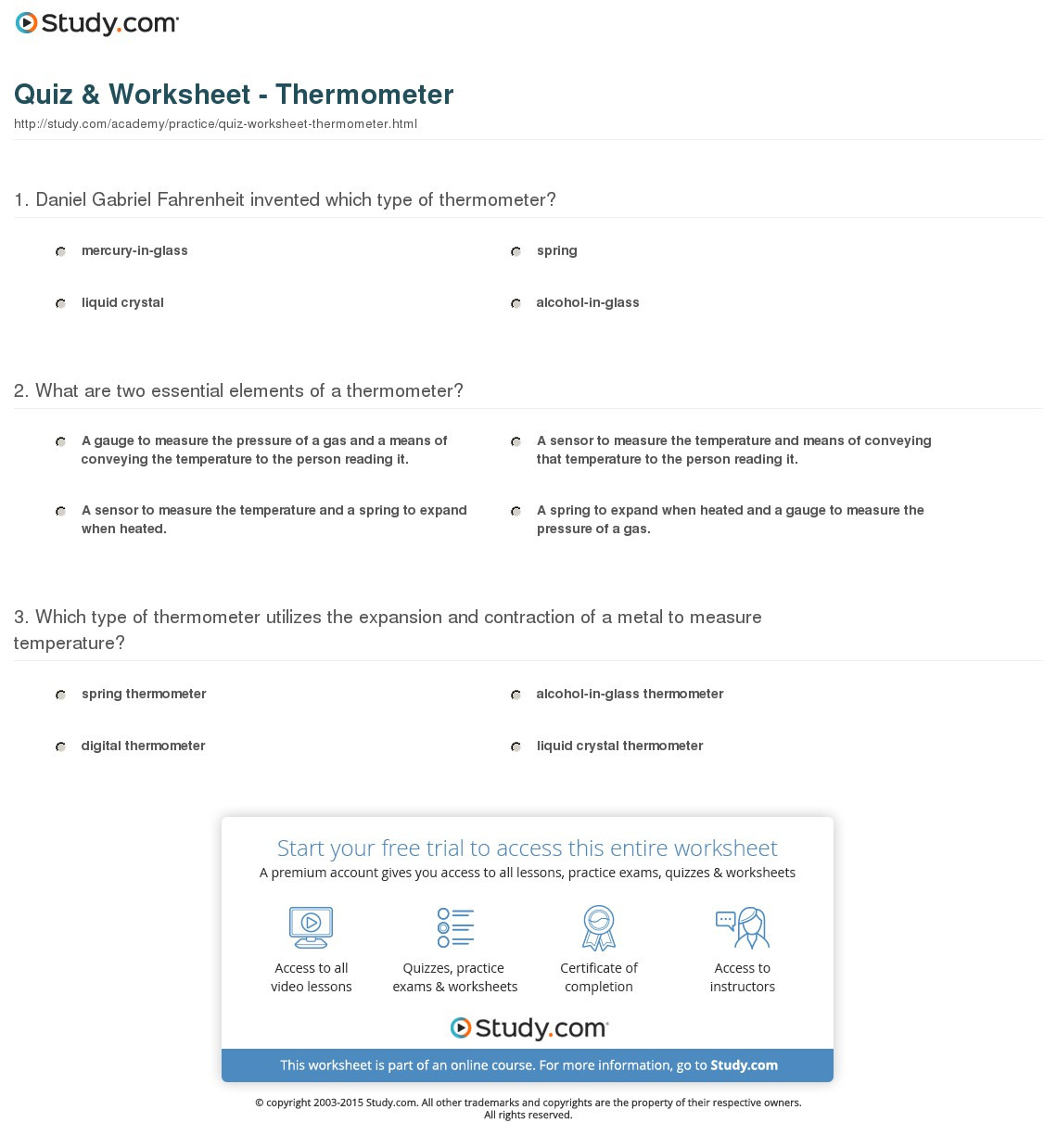 Quiz Worksheet Thermometer Study