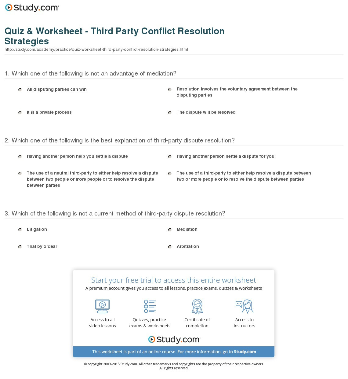 Quiz Worksheet Third Party Conflict Resolution