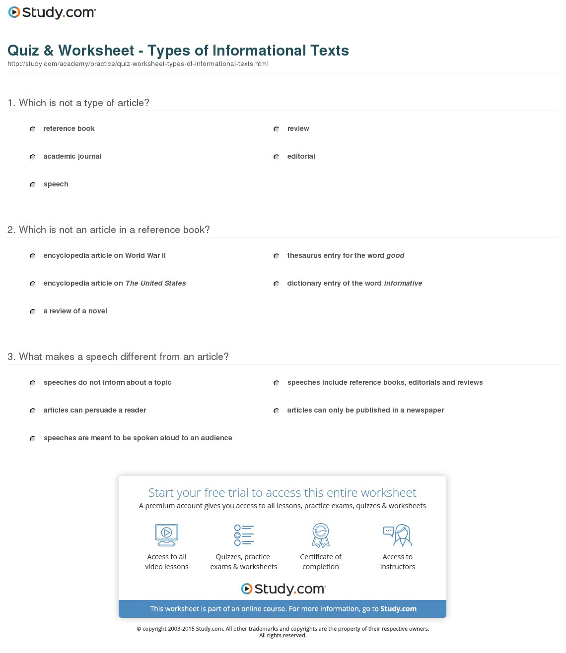 Quiz Worksheet Types Of Informational Texts Study