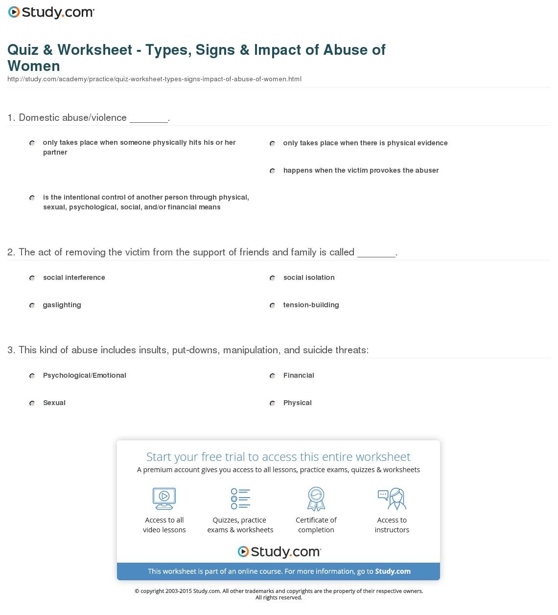 Survival Signs Worksheets
