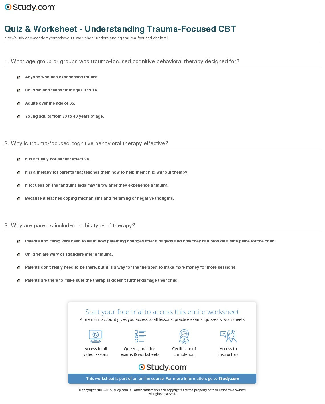 Trauma Worksheets Therapy