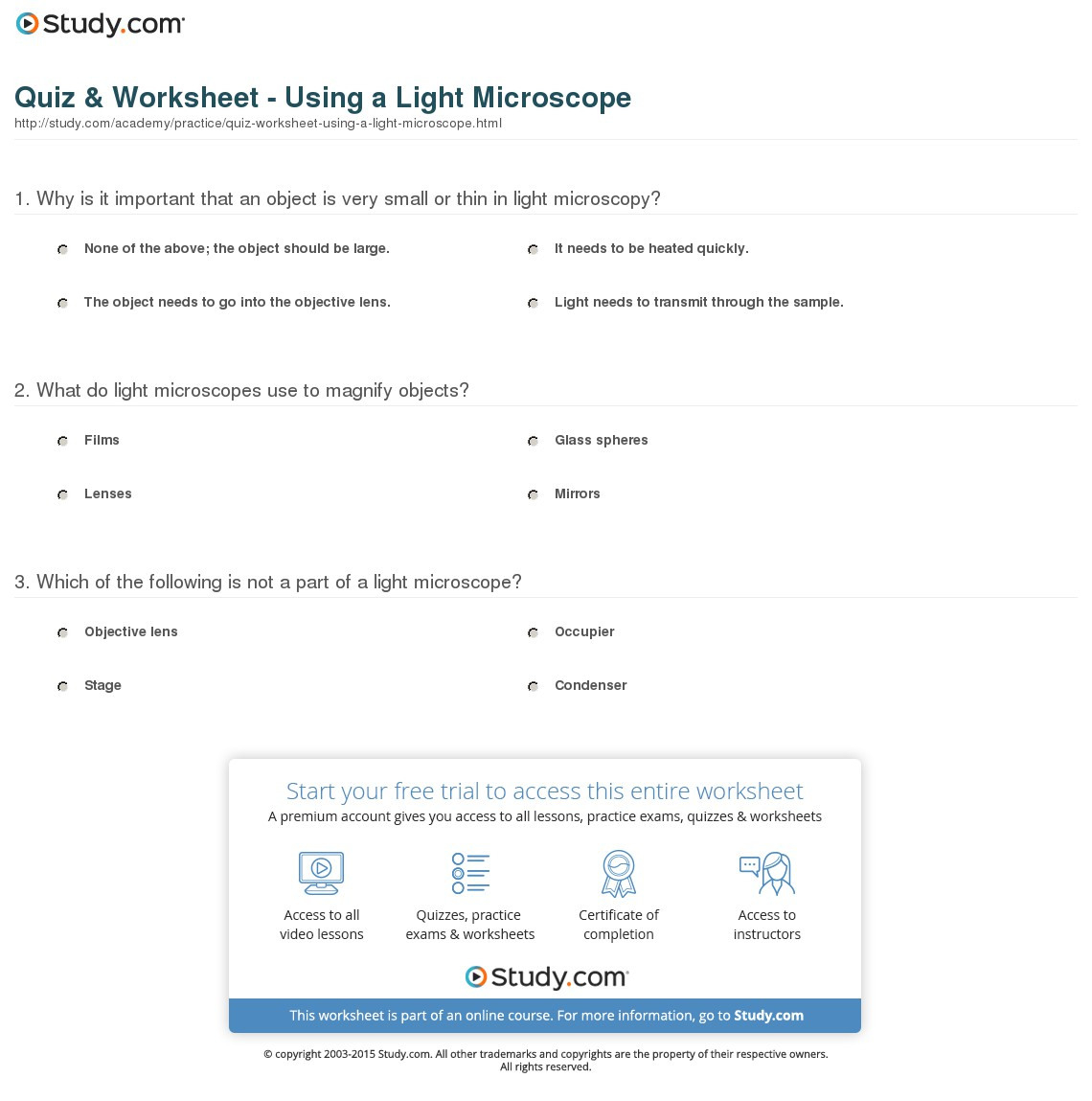 Parts Of A Microscope Worksheet Answers