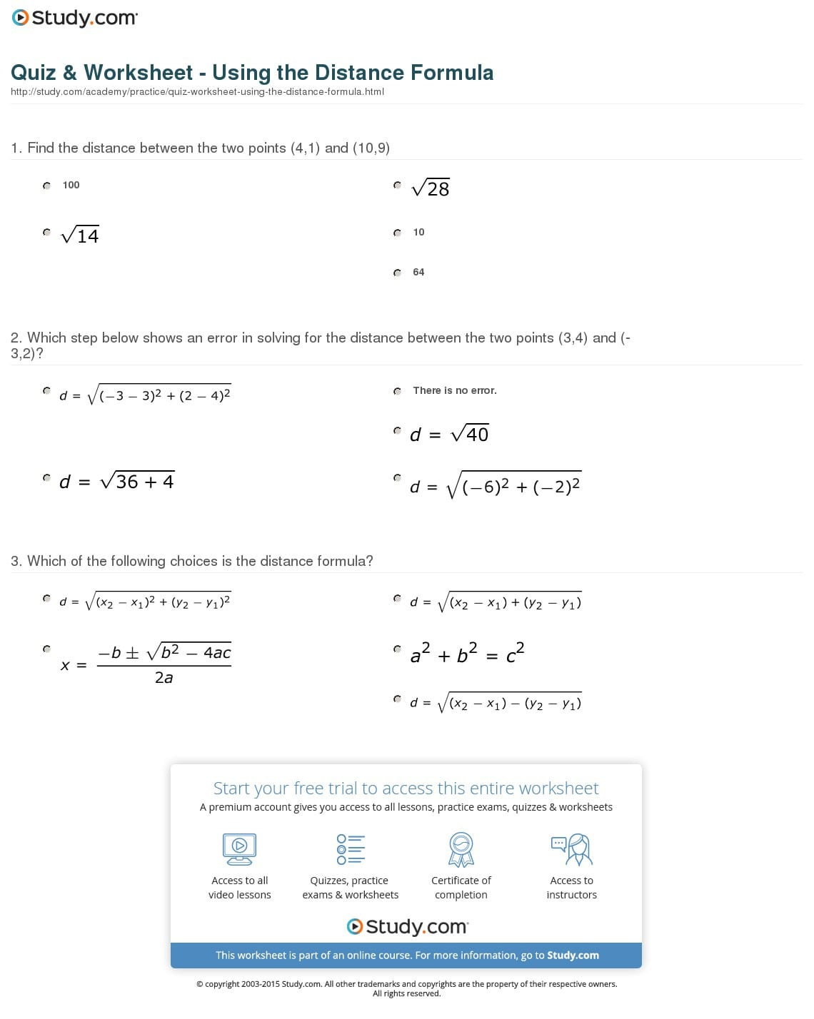 Quiz Worksheet Using The Distance Formula Study