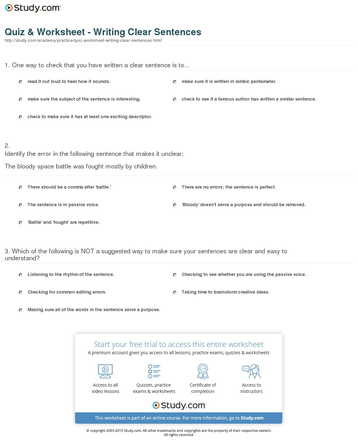 Quiz Worksheet Writing Clear Sentences Study