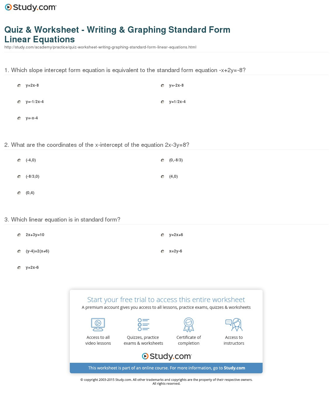 Quiz Worksheet Writing Graphing Standard Form Linear