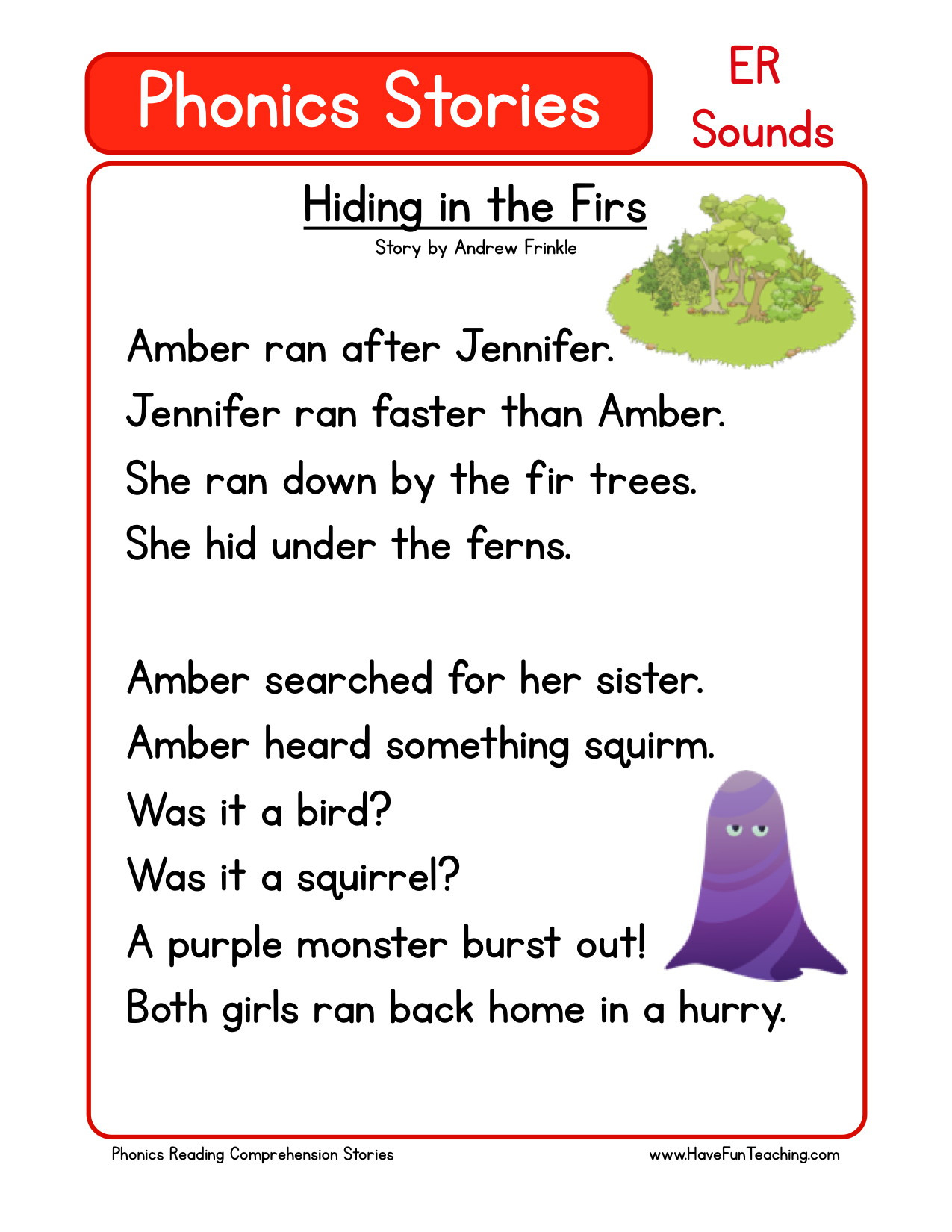 Reading Comprehension Worksheet Hiding In The F
