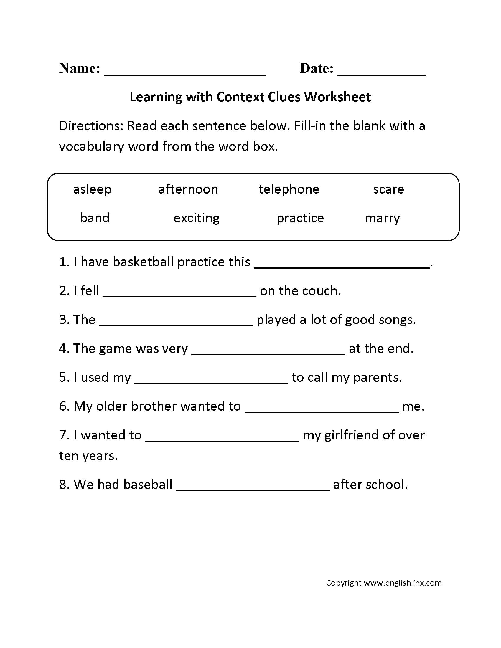 Reading Worksheets Context Clues Worksheets