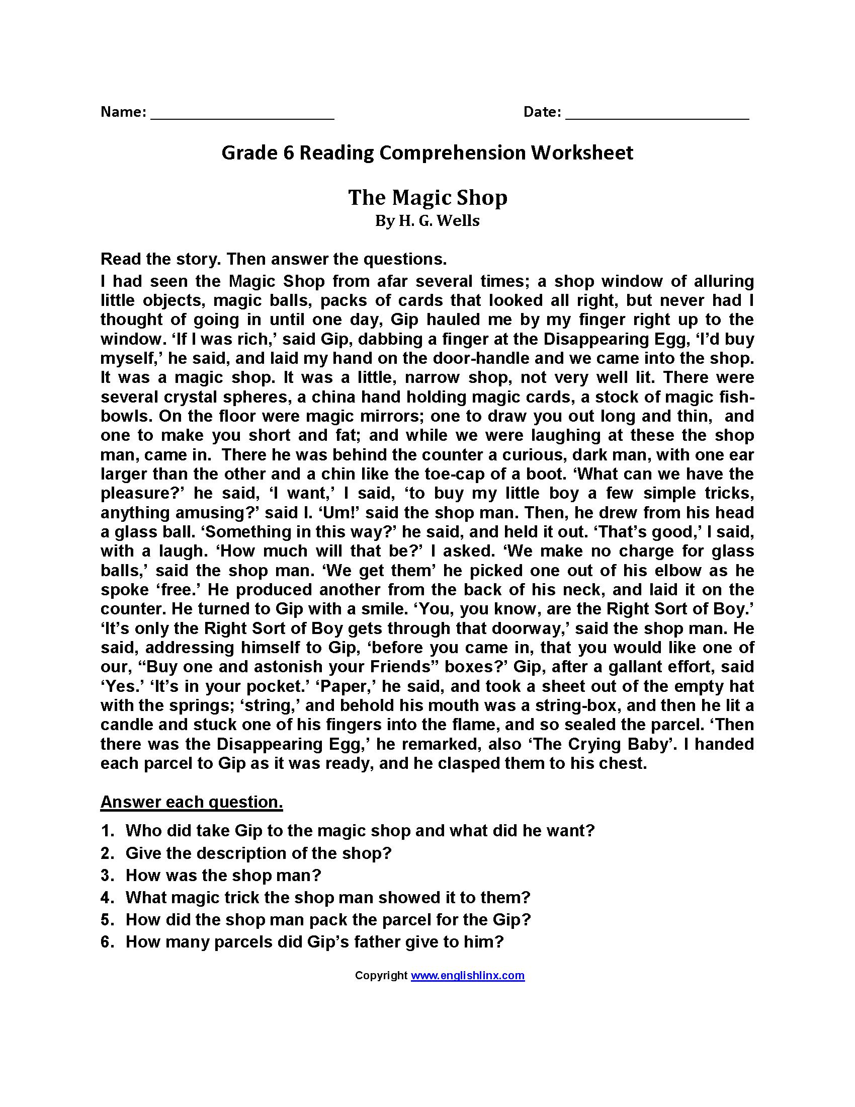 Abraham Lincoln Comprehension Worksheet