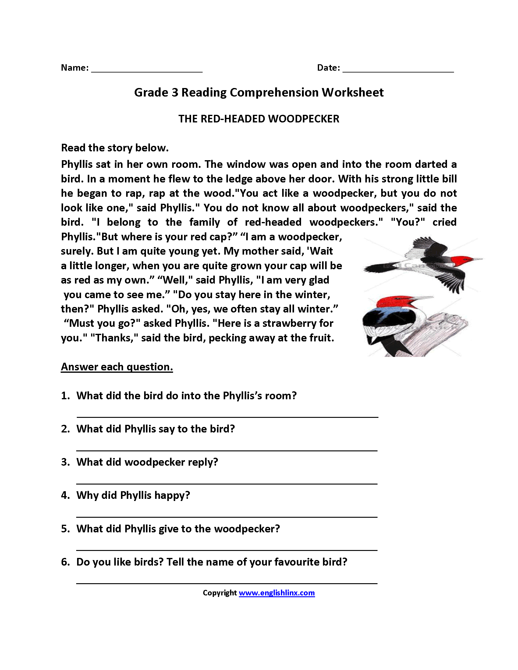 3rd Grade Comprehension Worksheets