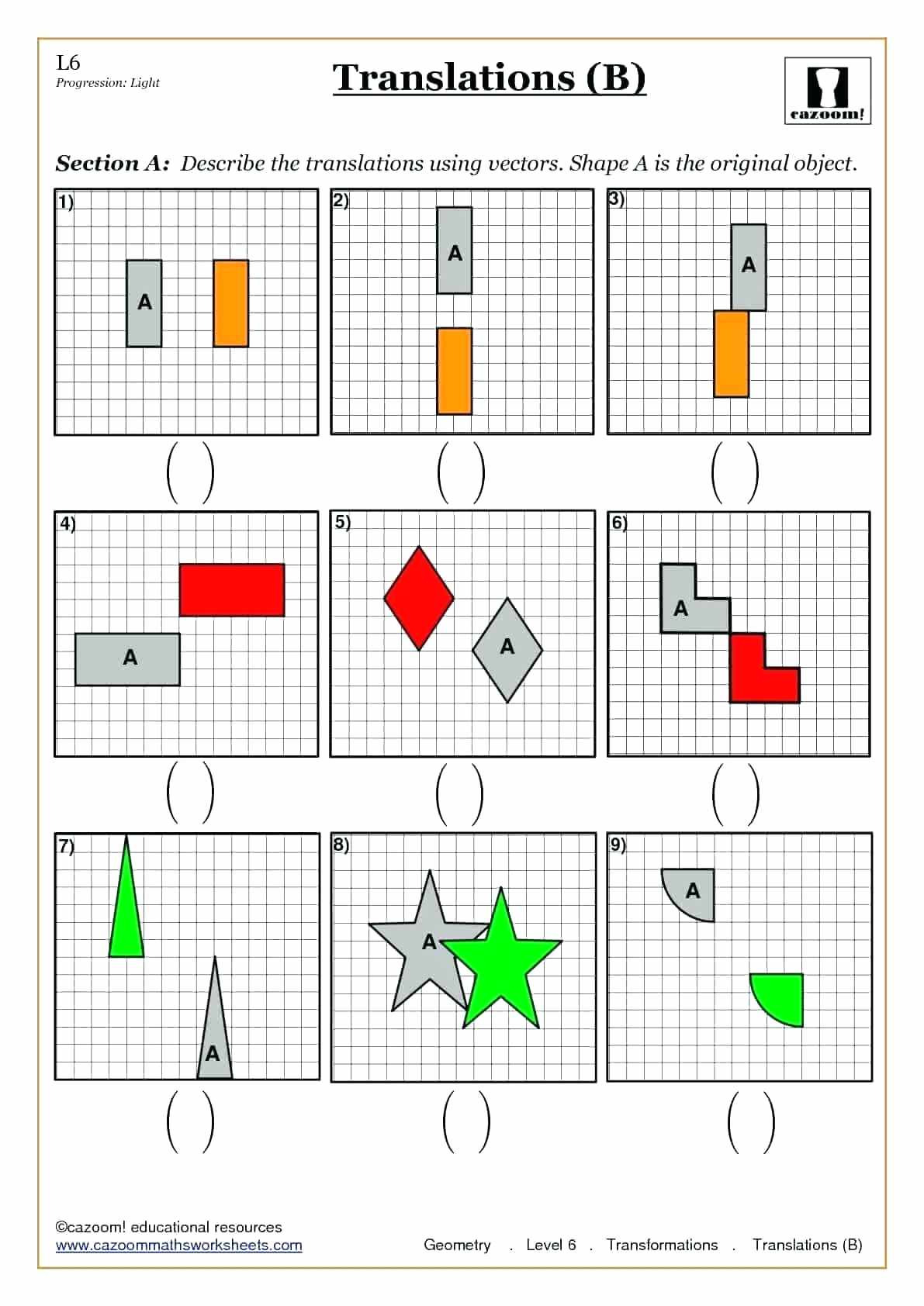 Reflections Geometry Worksheets Math Reflection Questions