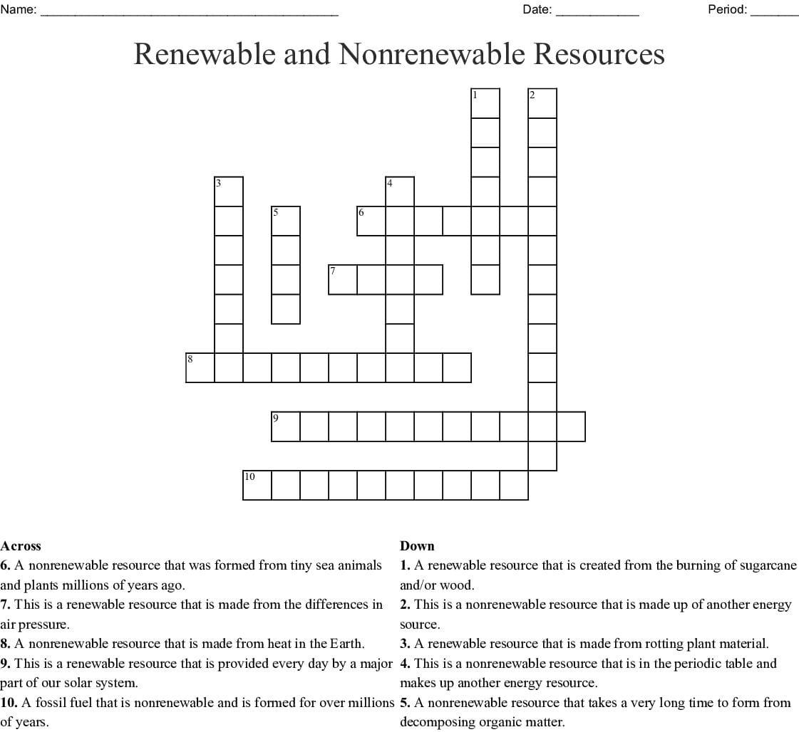 Reneble And Nonreneble Resources Crossword Word
