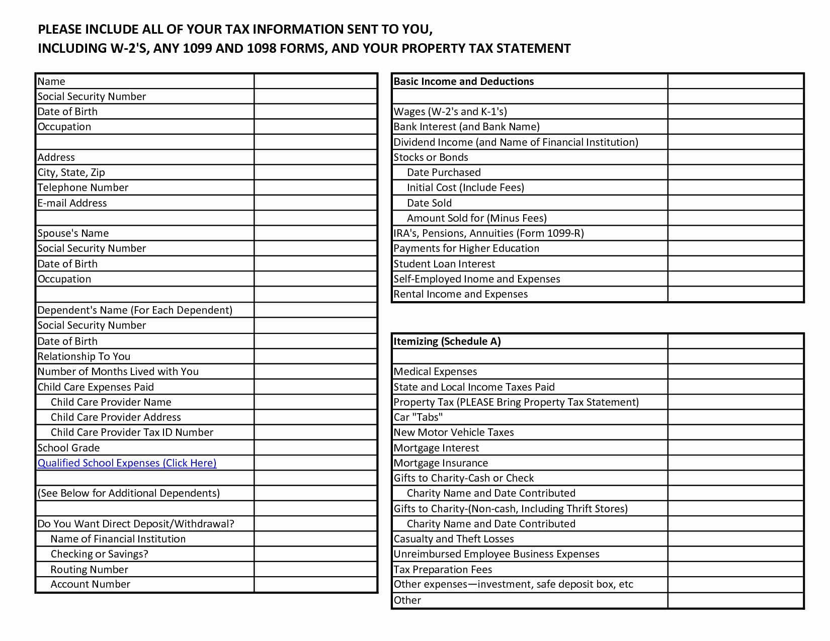 Charitable Contributions Worksheet