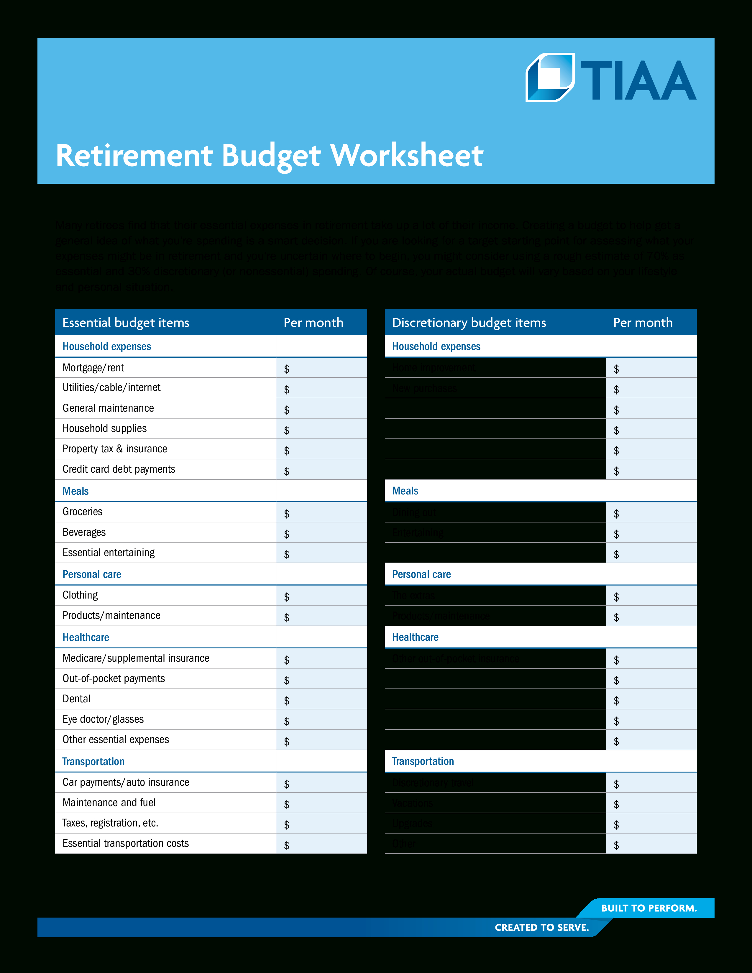Retirement Budget Worksheet S At