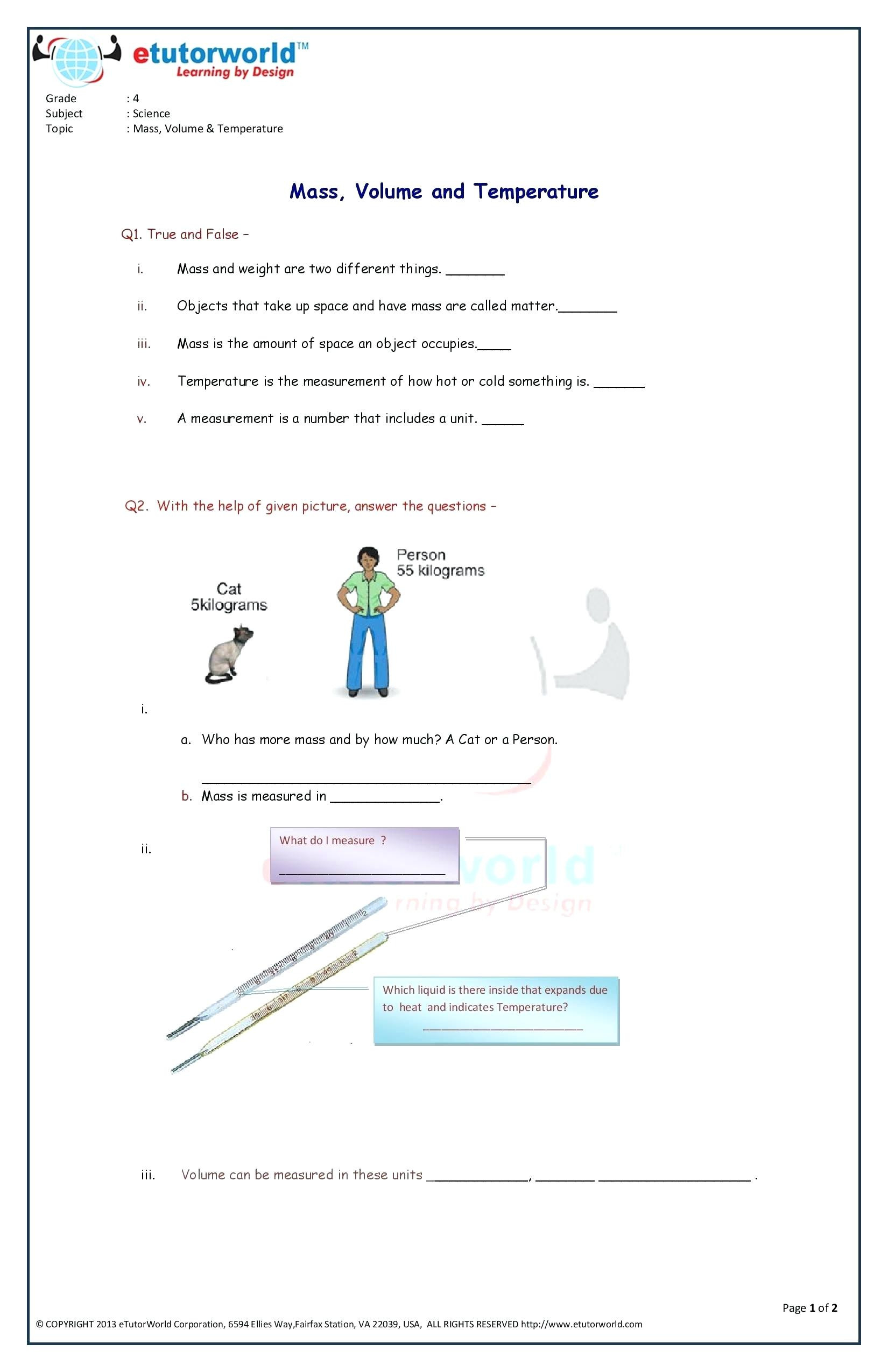 Science Mass Worksheets Oneupcolorco