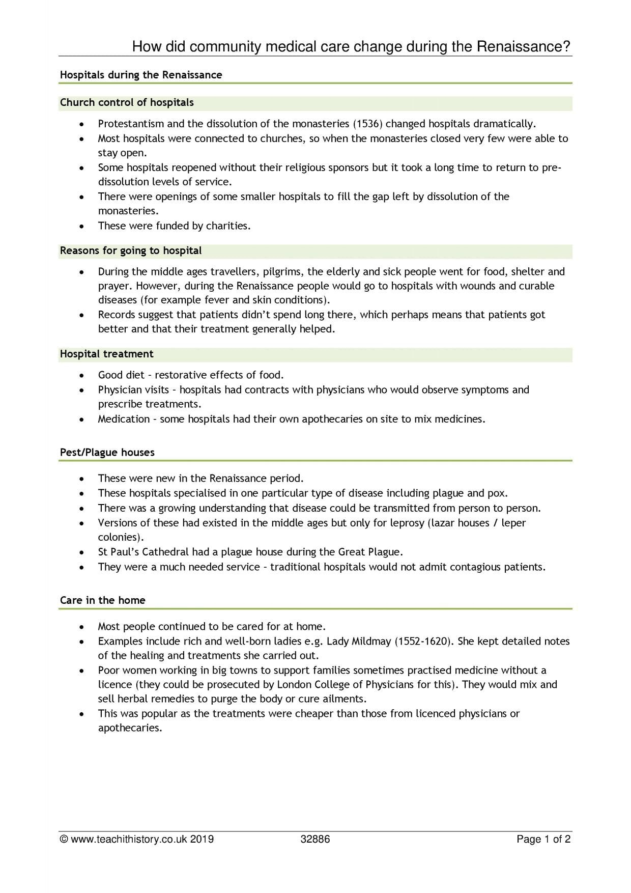 Se History Renaissance Worksheet Care And Hospitals
