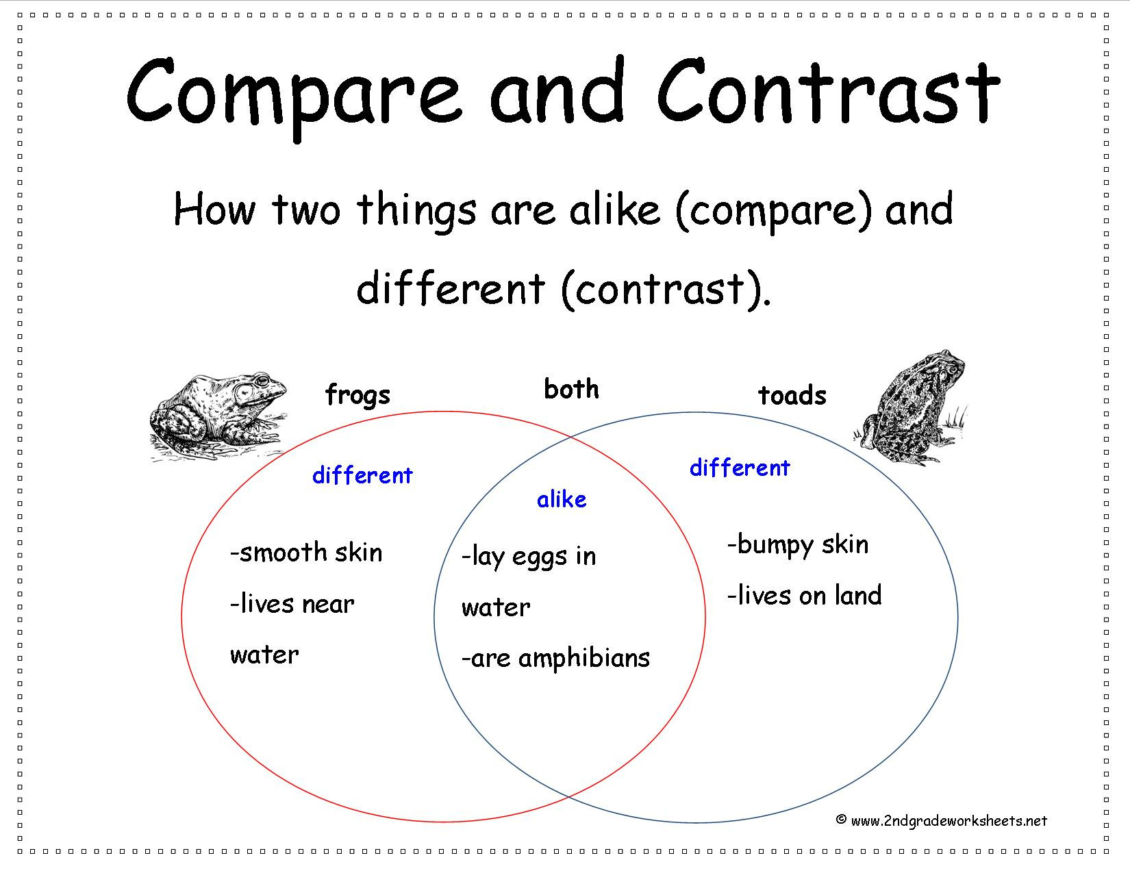Compare And Contrast Worksheets 2nd Grade