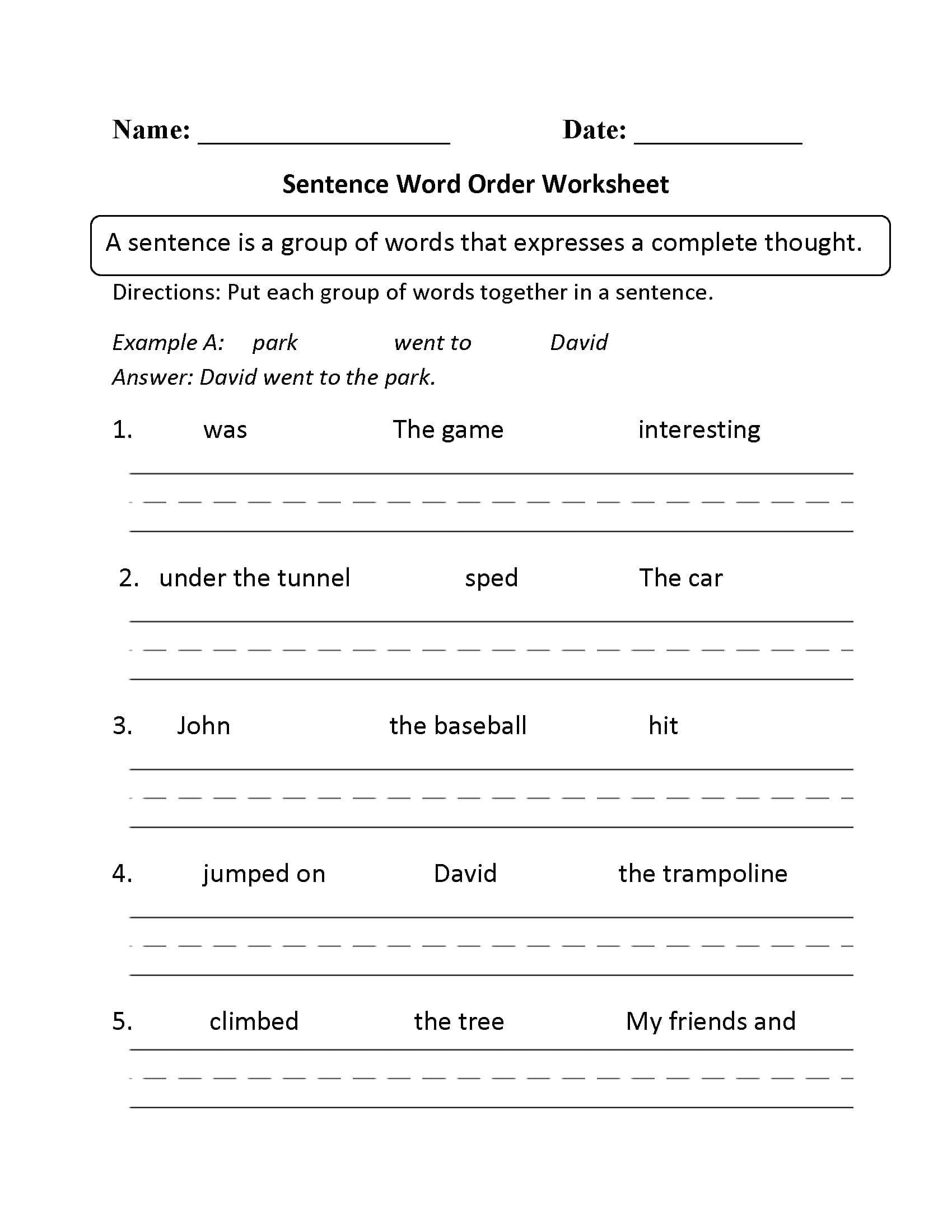 Building Sentences Worksheets 1st Grade