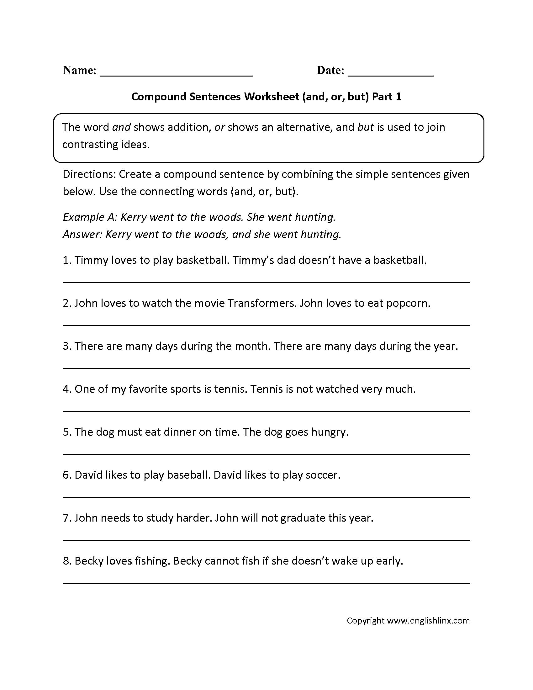Compound Sentences Worksheet With Answers