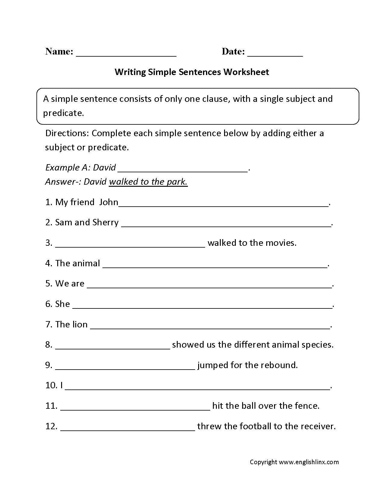 Sentences Worksheets Simple Sentences Worksheets