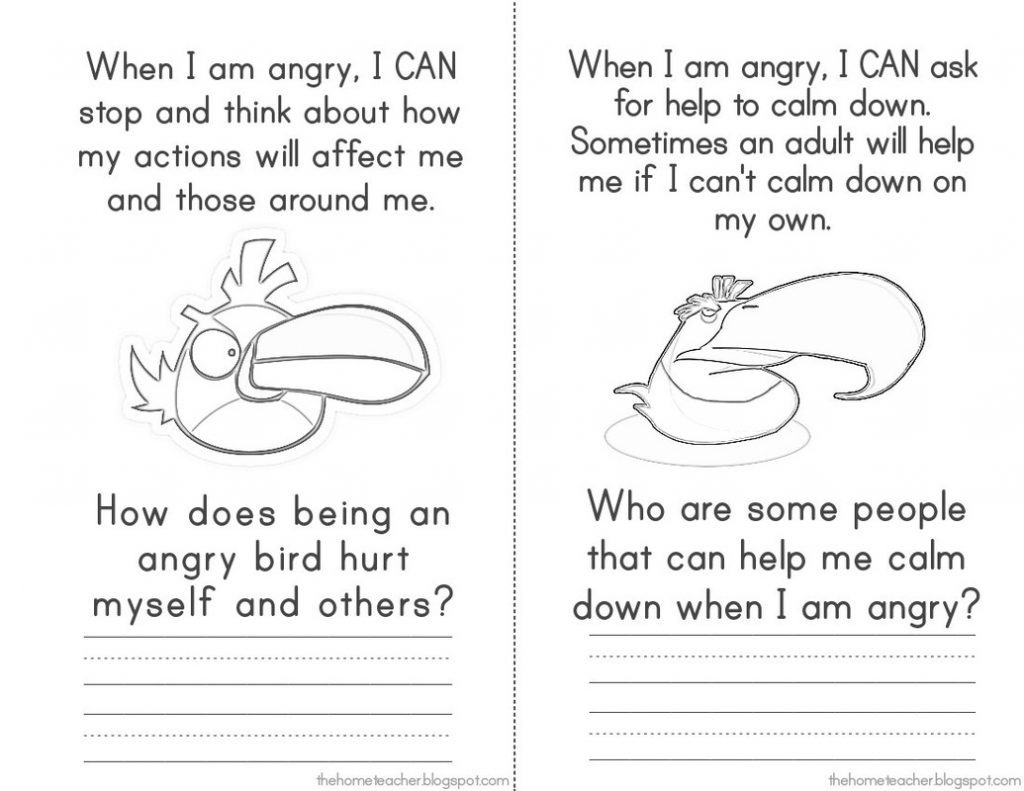 Anger Management Worksheets For Kids