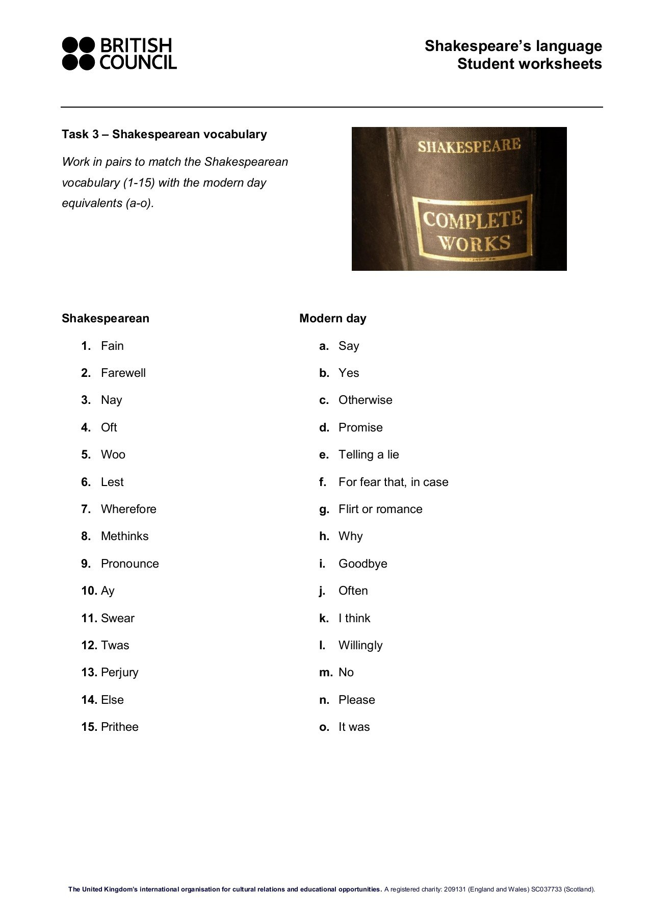 Shakespeare S Language Student Worksheets Pages 1 4 Text