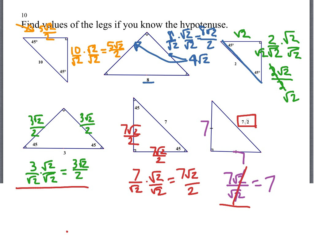Showme Geometry 72 Special Right Triangles Worksheet