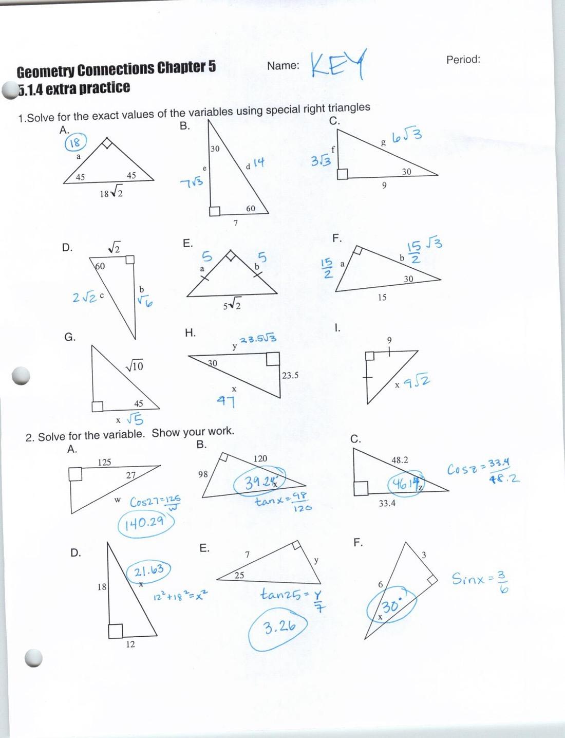Similarity Similar Right Triangles Worksheet Answers