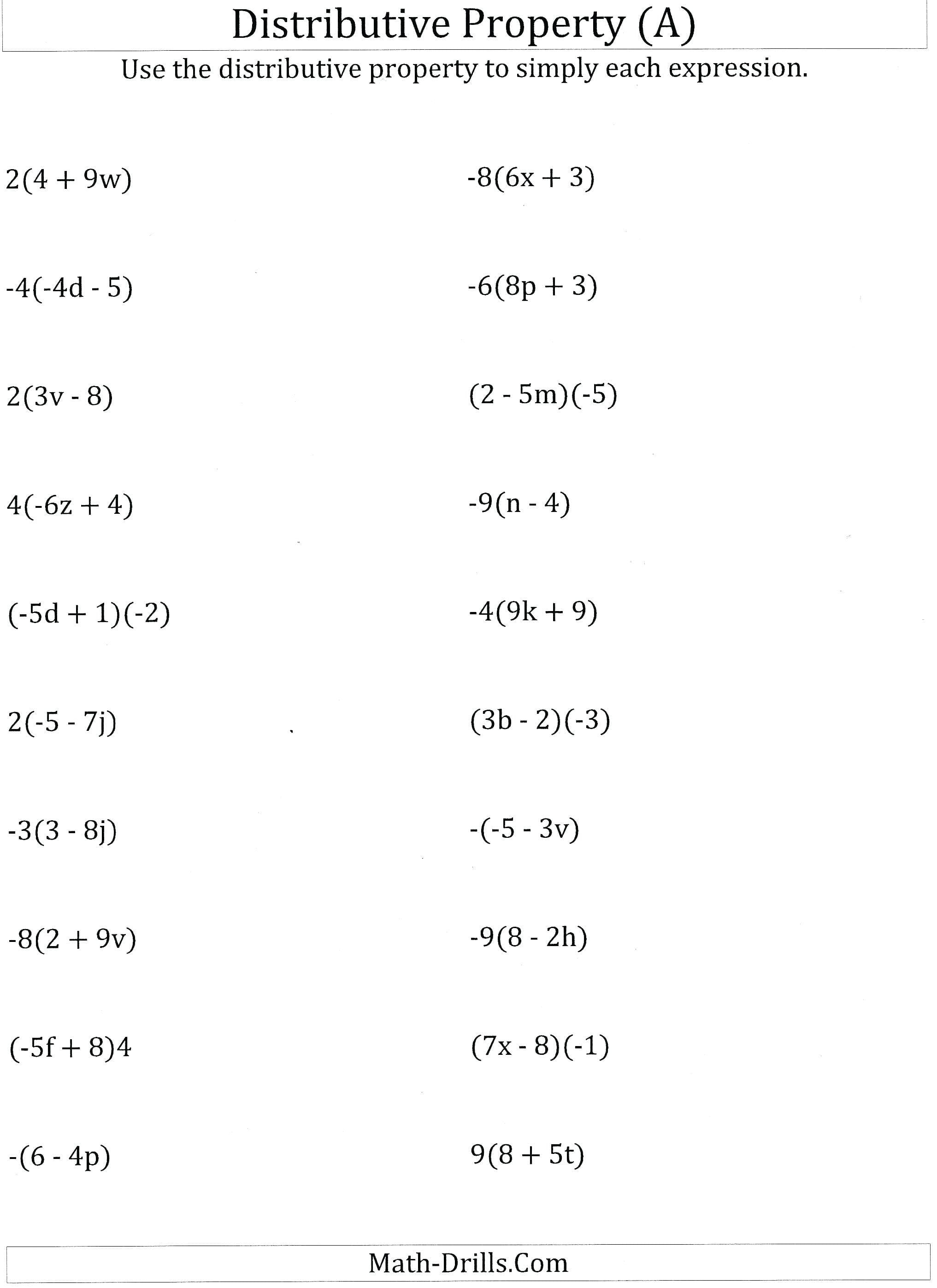 Basic Math Properties Worksheets