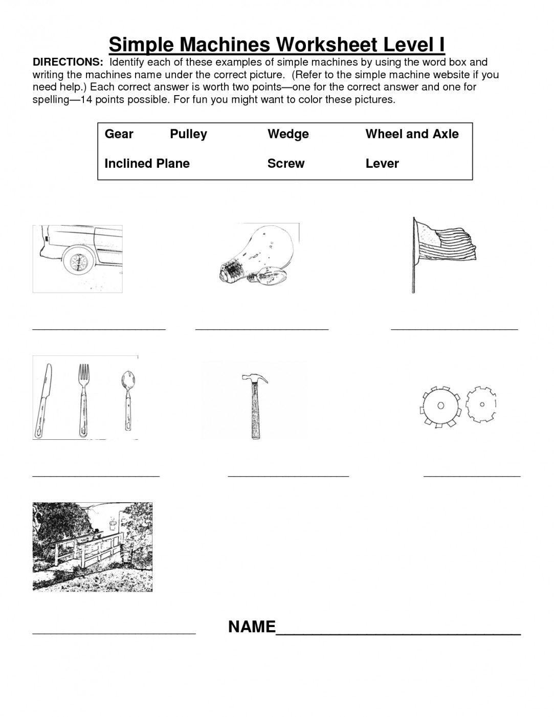 Simple Machines Worksheet Middle School Yooob
