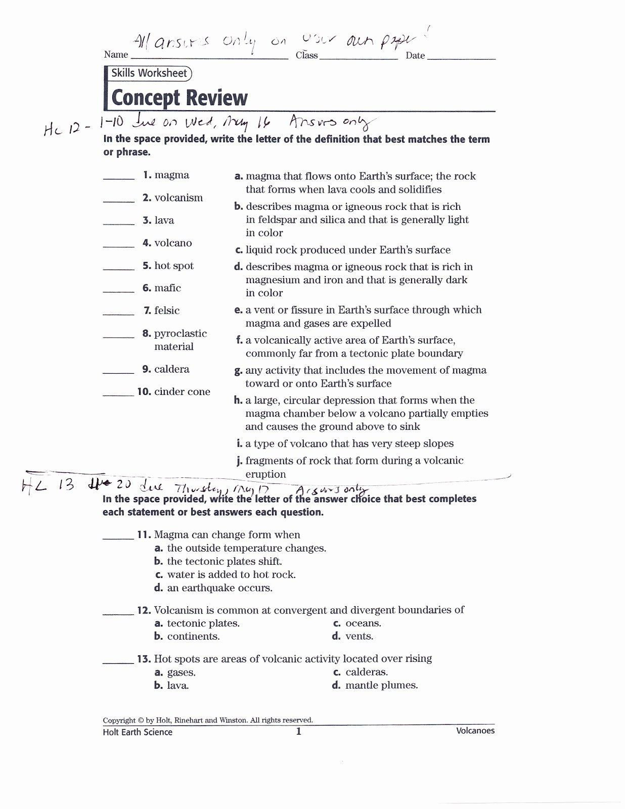 Skills Worksheet Concept Review Answers