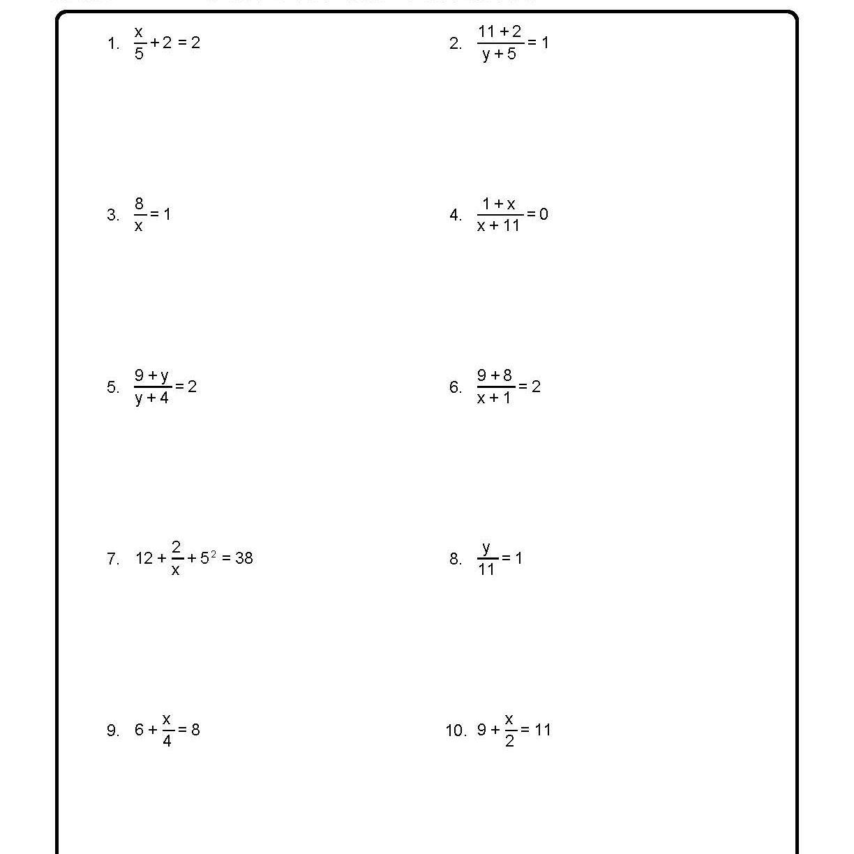 Solving For A Variable Worksheet